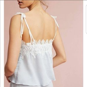 Eloise Pleated Lace Trim Cami in Ivory